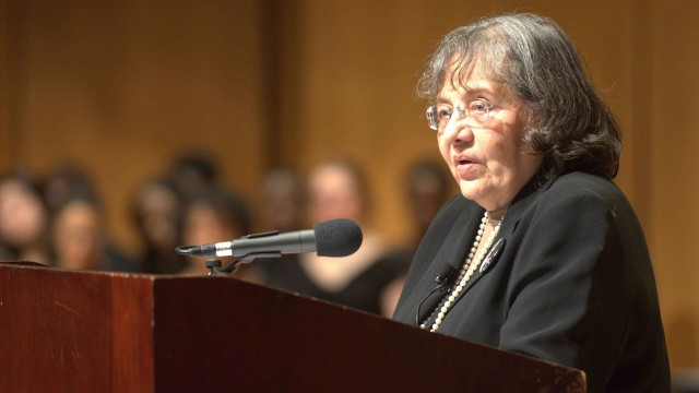 Diane Nash addresses the Northwestern community in 2016 as they commemorate the Martin Luther King jr day