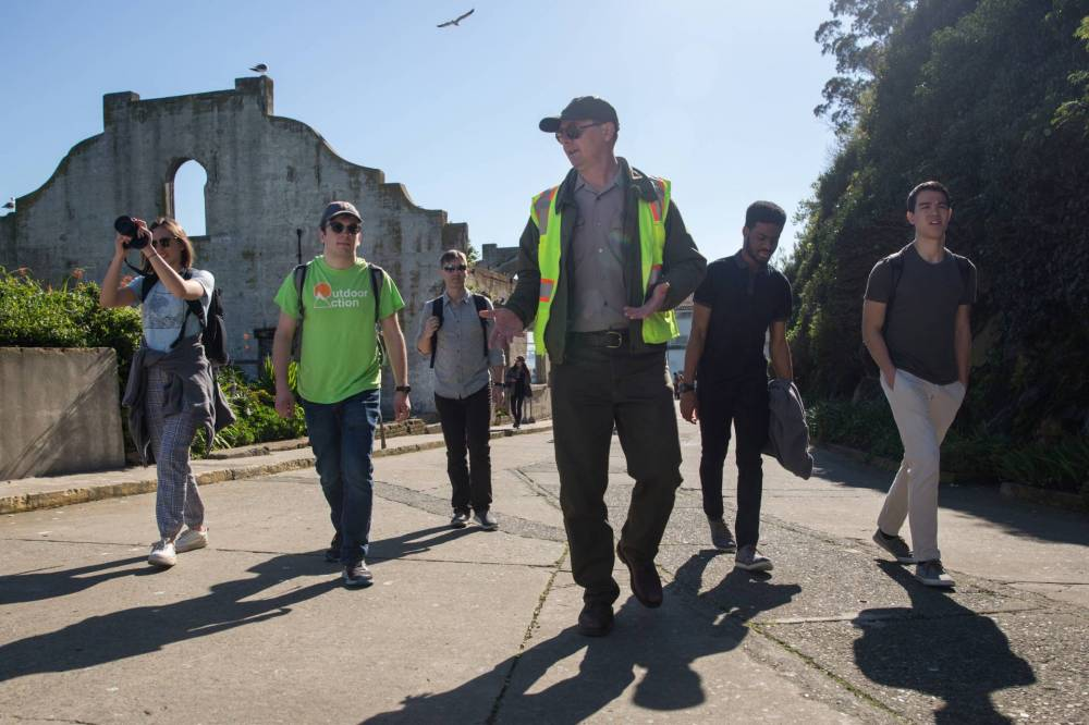 Students on a tour of Alcatraz island