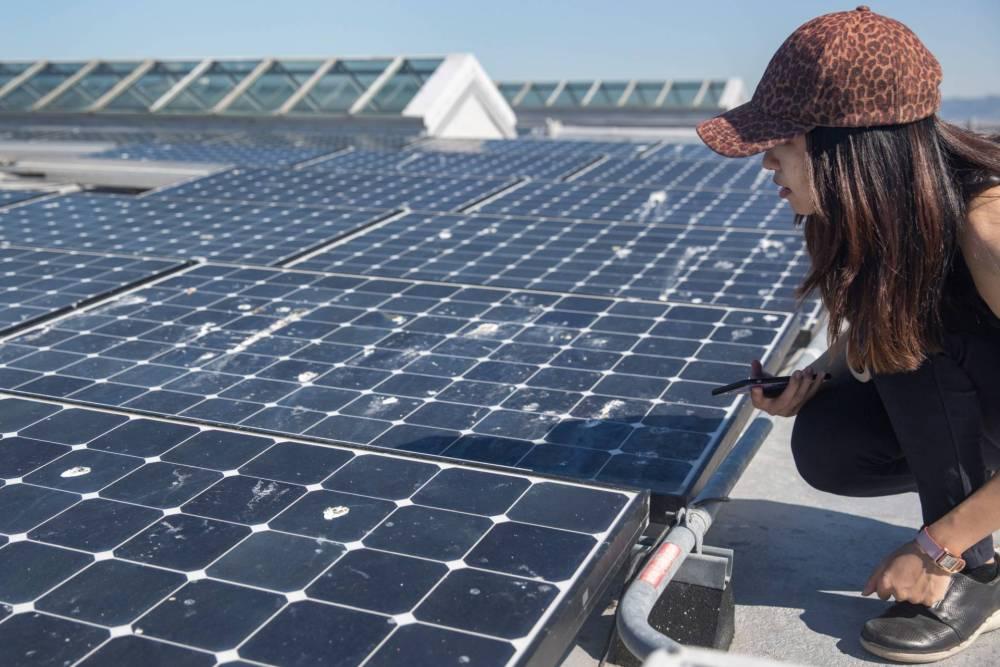 Isla (Xi) Han crouching and looking at solar panels