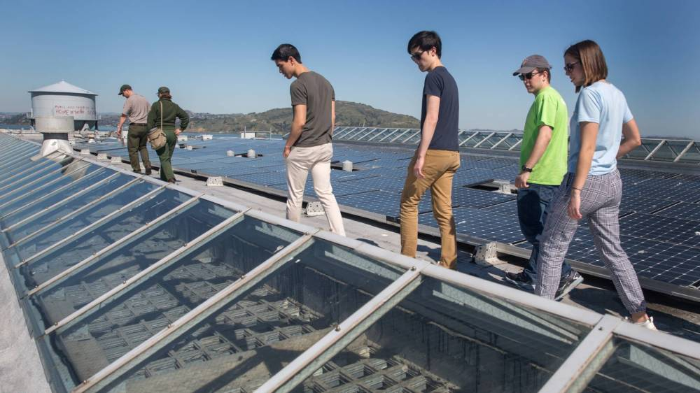 Students walking on rooftop with solar panels in the background