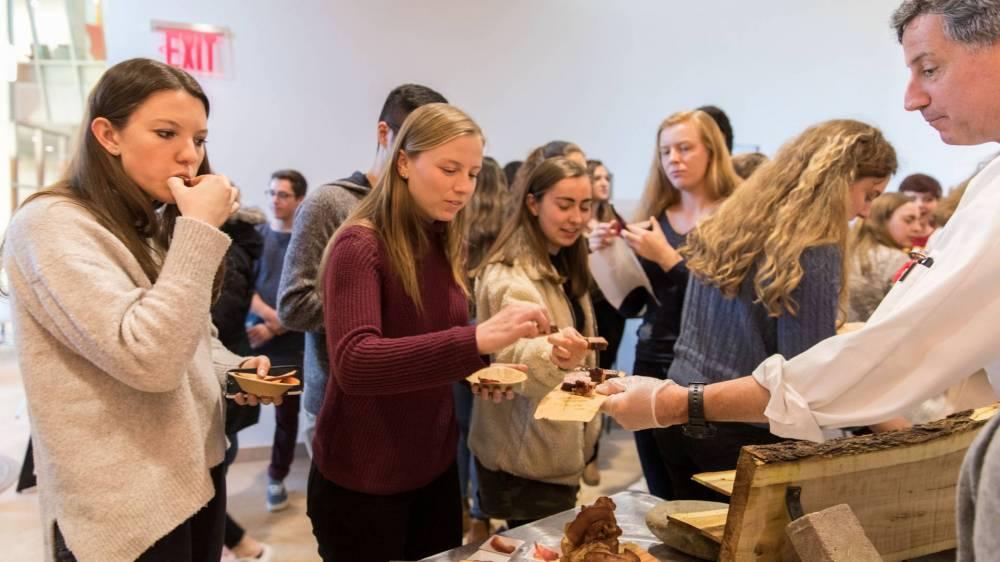 Students tasting food