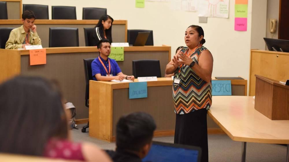 Christie Abeyta, of the Santa Clara/Santo Domingo Pueblo, leads Native American students in a policy discussion