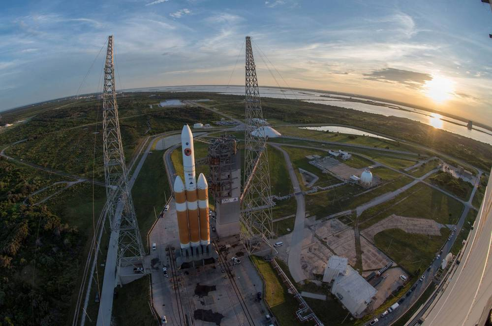 The rocket carrying the Parker Solar Probe sits on the launch pad