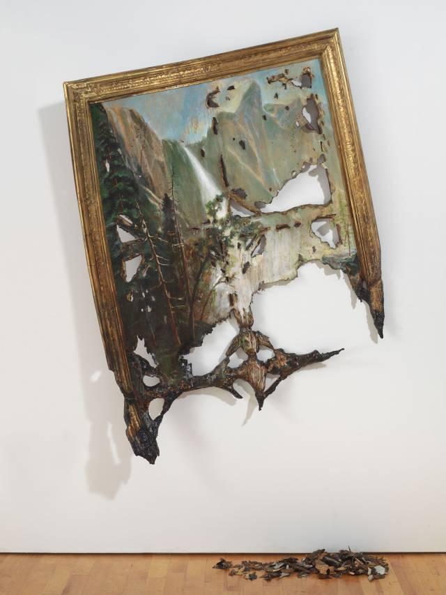 "Valerie Hegarty's artwork ""Fallen Bierstadt"" made of Foamcore, paint, paper, glue, gel medium, canvas, wire, wood"