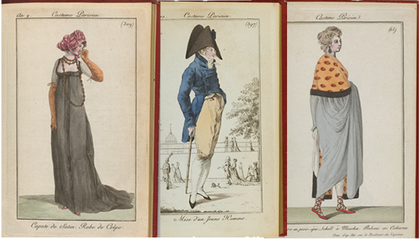 Two images of women and one image of a man from the Journal des Dames et des Modes.