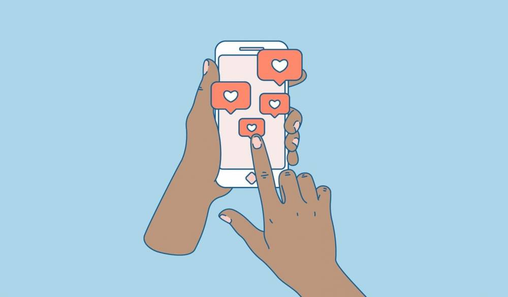 Illustration of hands pressing heart buttons on a cell phone. Credit: iStock.com/Adehoidar