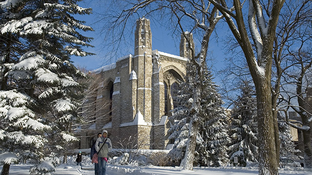 Winter at Deering Library