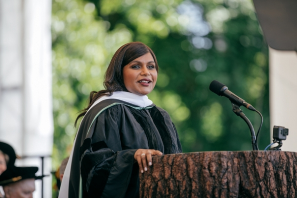 Mindy Kaling speaks on stage at commencement.