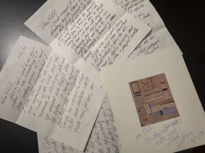A group of letters that Osver wrote to Slein when the latter was a student in the 1990s. (Photo: Joe Angeles/Washington University)