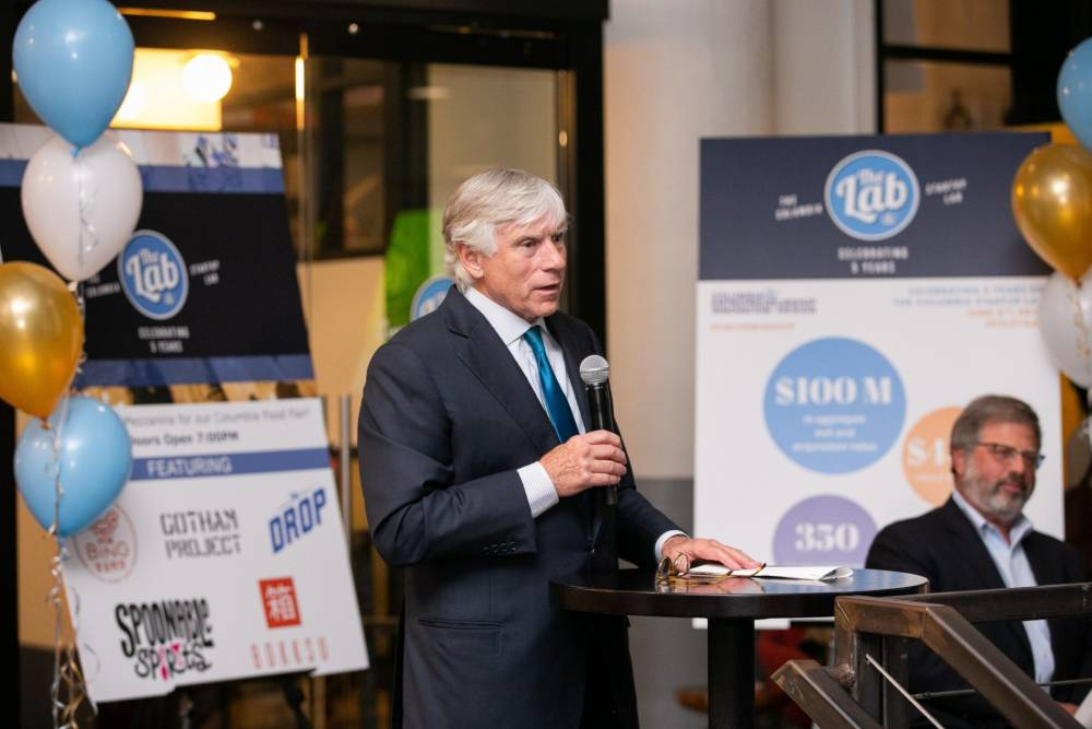 Columbia University President Lee C. Bollinger speaks at the Lab's 5th anniversary event.