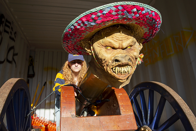 The cannon is in a secret location and wears a mask and sombrero.