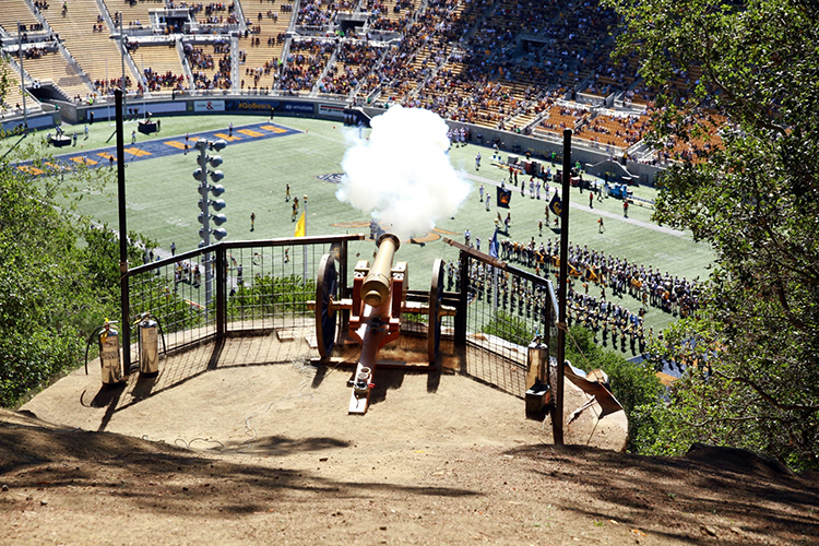 The cannon fires at a football game
