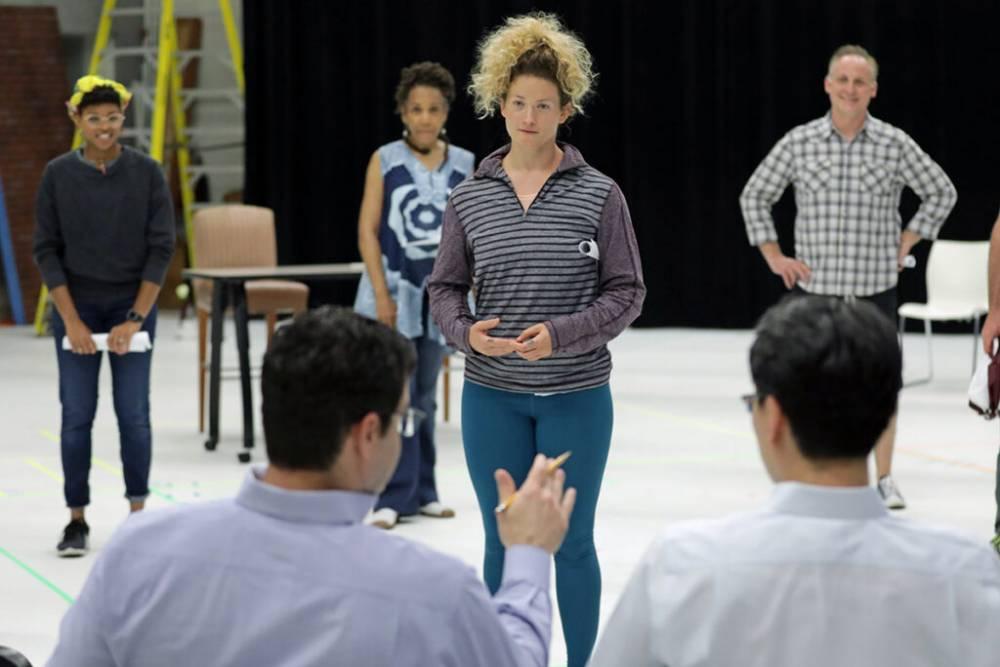 BrainWorks cast rehearses