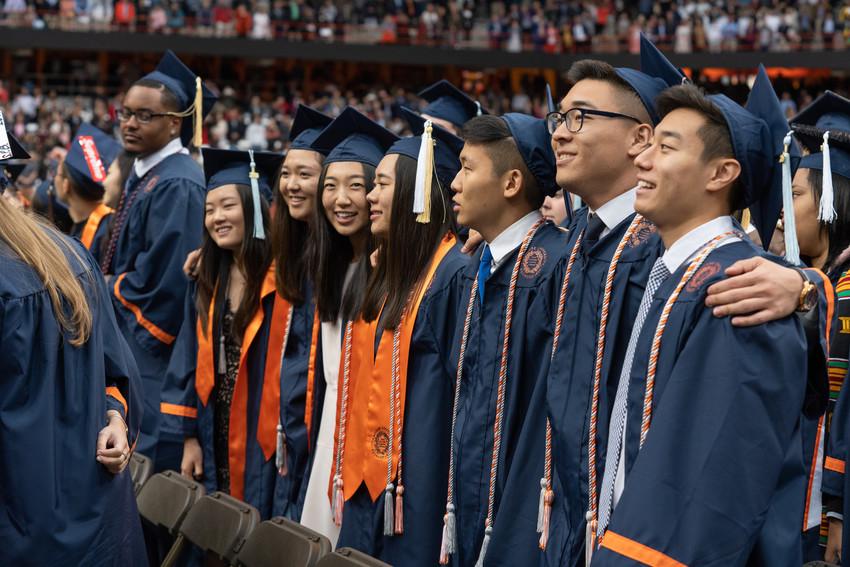 line up of graduates