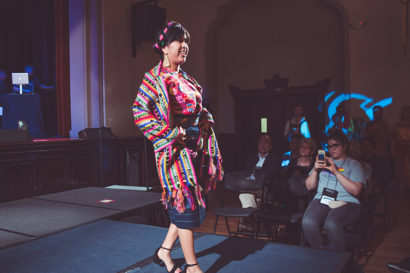 Gemma walks the runway in Guatemalan clothing