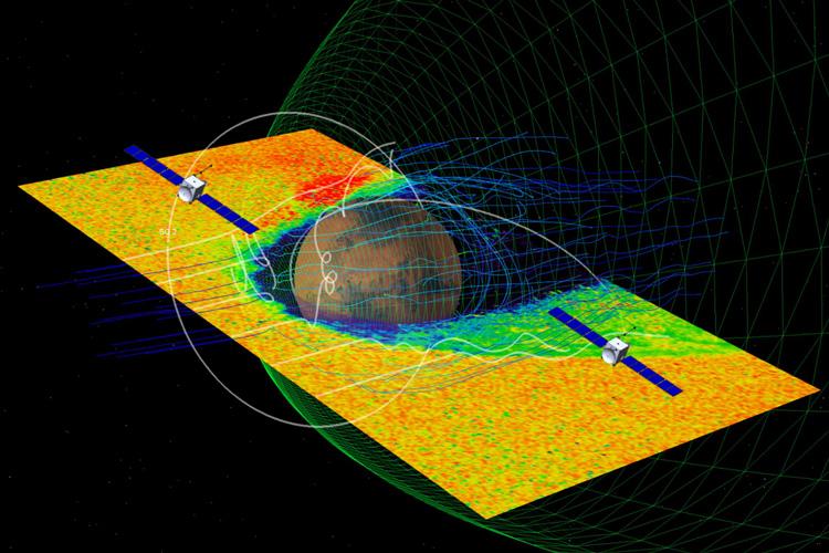 EscaPADE satellites orbiting Mars