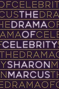 The words drama of celebrity written across a book cover several times.