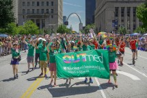 OUTmed, an organization for LGBTQIA-identified faculty, residents, fellows and staff at the School of Medicine, participated in St. Louis' 2019 Pride Parade on June 30. Watch a video of the event; read more about OUTmed. (Photo and video: Huy Mach/School of Medicine)