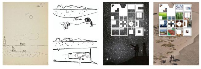 The design concept by Chi Zhang.was influenced by Zhang's first experience of a clear night sky in the high-altitude desert in Marfa, Texas. The clarity of the west-Texas night sky informed Zhang's concept of exterior courtyard spaces framing views of the sky and low walls capitalized on the relationship between varying scales of horizons — from a window, to a wall, to the mountains beyond. The presence of day and night sky is intended to shift the immigrants' experience away from their immediate detention — to an experience that is temporary, hopeful and a refuge from the trauma they may have experienced during their migration to the U.S.