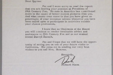Letter from Richard Nixon to Spyros Skouras