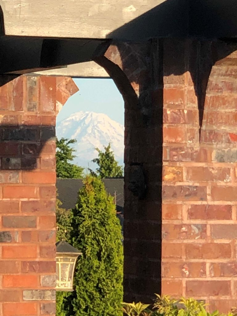 mountain view through pillars