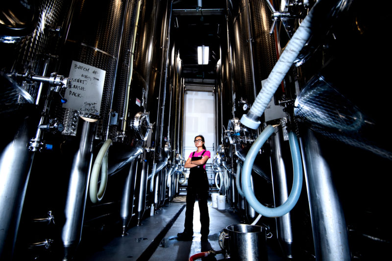 Angelina Choy, who studied chemistry at Northeastern, said she never expected to work in a cider house. Here, she stands among the company's 15 fermentation tanks. Photo by Matthew Modoono/Northeastern University