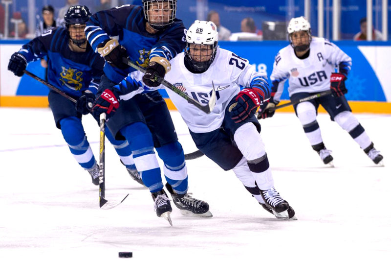 Kendall Coyne Schofield, who played for the Huskies from 2011 to 2016, won a gold medal for Team USA at the 2018 Winter Olympics. Photo by Jeff Cable