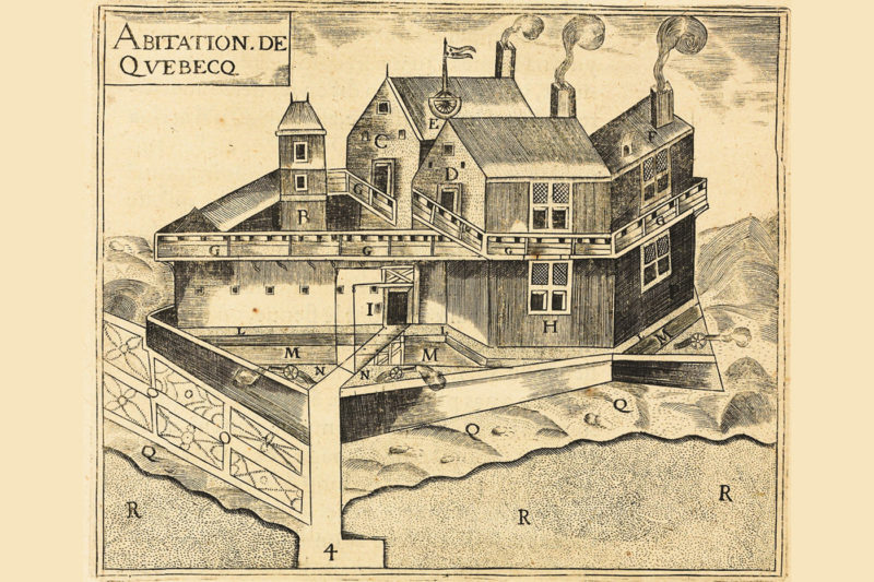 """Samuel de Champlain's depiction of his """"Habitation of Quebec"""" from 1613 shows cultivated land surrounding the structure, blurring the line between settlement and natural world, between people and place. Photo courtesy of Wikimedia Commons."""