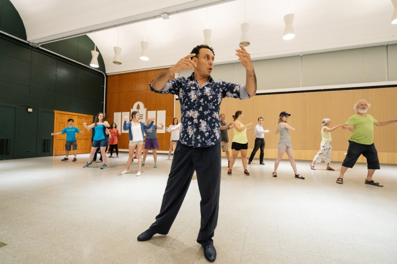 Andrés Bravo leads a free tango class in Alumni Hall at the Hopkins Center of the Arts. (Photo by Eli Burakian '00)
