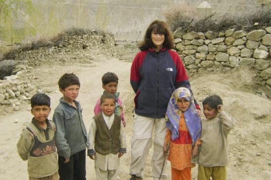 Aisha Khan and children in Testay village, Pakistan.