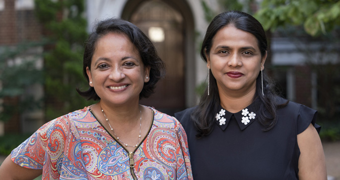 Pampee Young, MD, PhD, left, Sarika Saraswati, PhD, and colleagues are studying the different ways fibroblasts function following tissue injury.