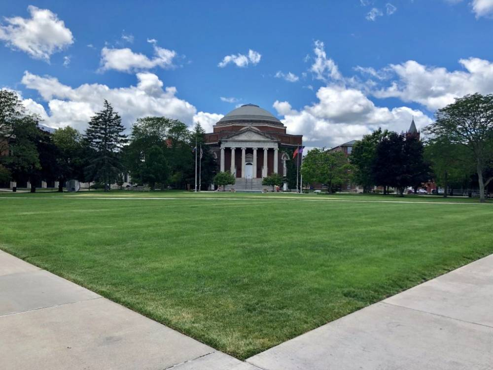 Shaw Quad lawn in front of Hendricks Chapel