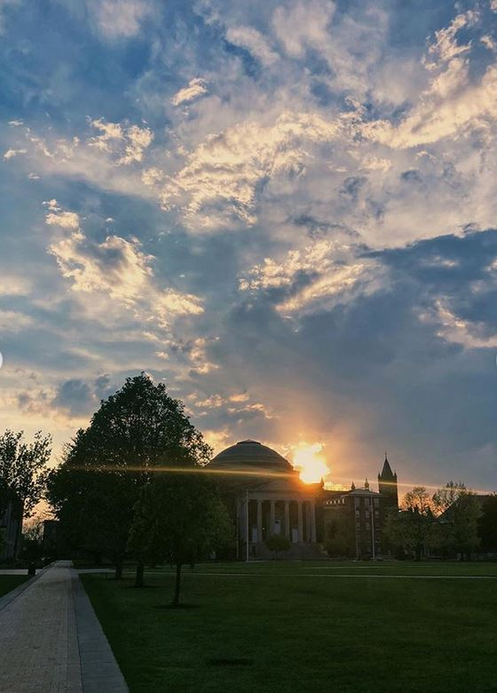sun setting over Shaw Quad