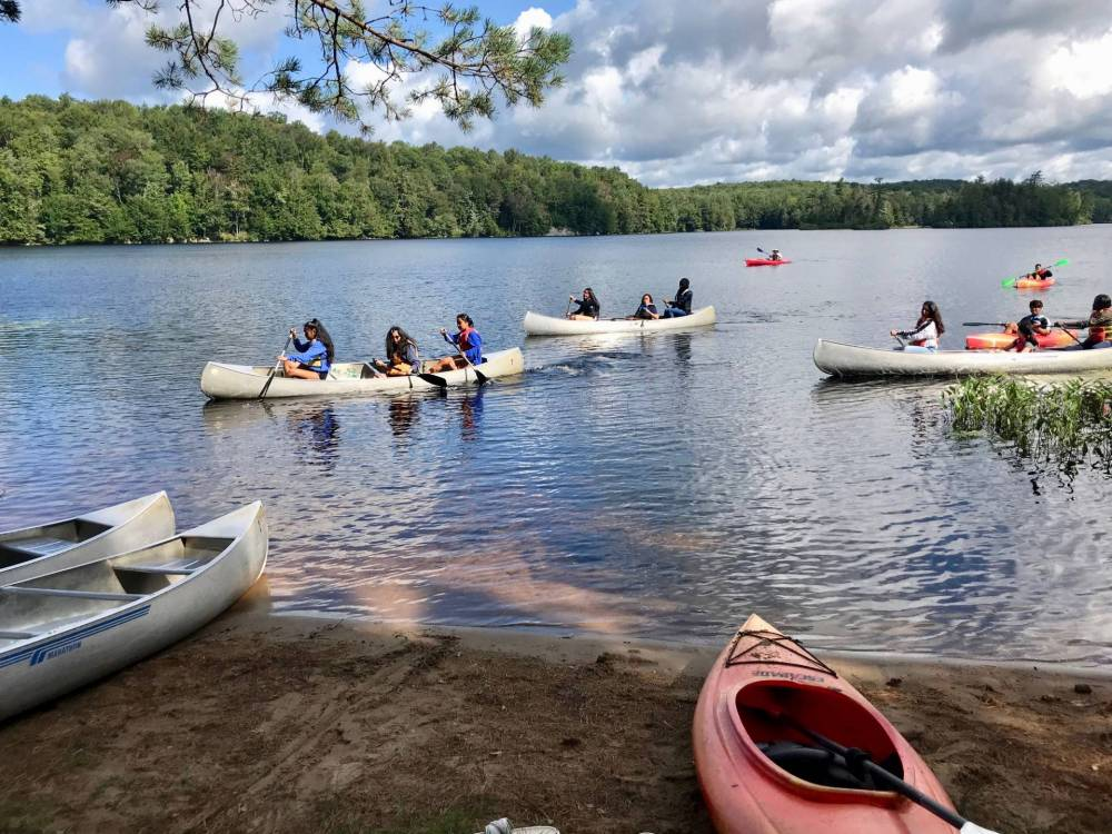 Campers canoing