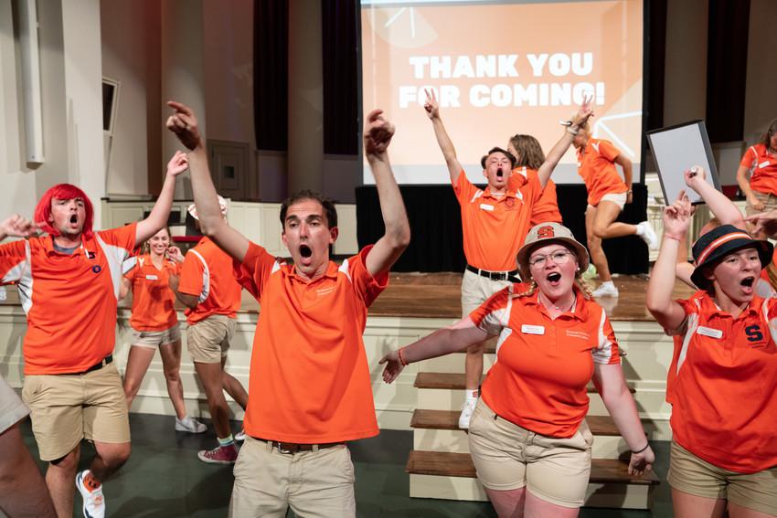 students cheering in Hendricks Chapel
