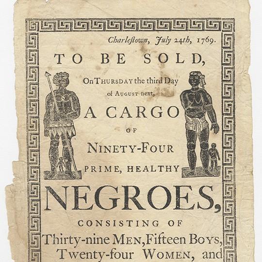 Flyer advertising sale of African people in Charlestown.