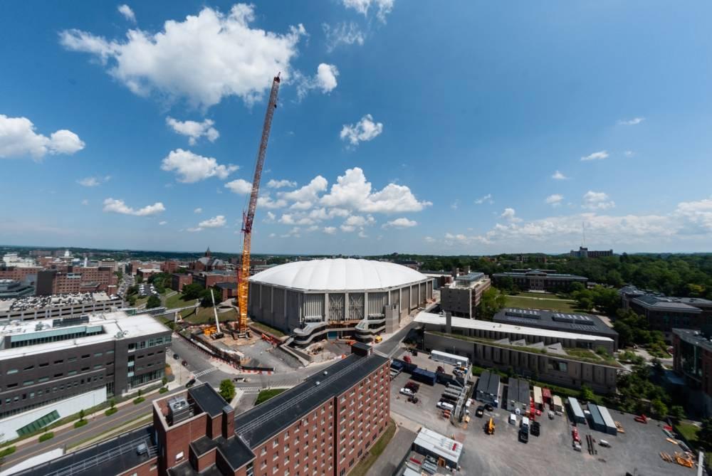 large crane working over stadium