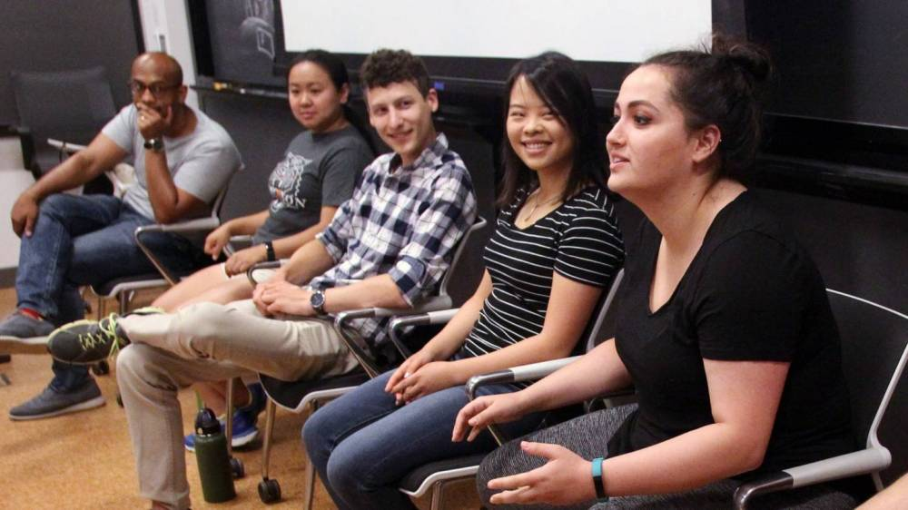 """PUMA students participated in a panel discussion with assistant professor Sujit Datta and members of his research group, who shared their own stories of """"how we got to where we are."""""""