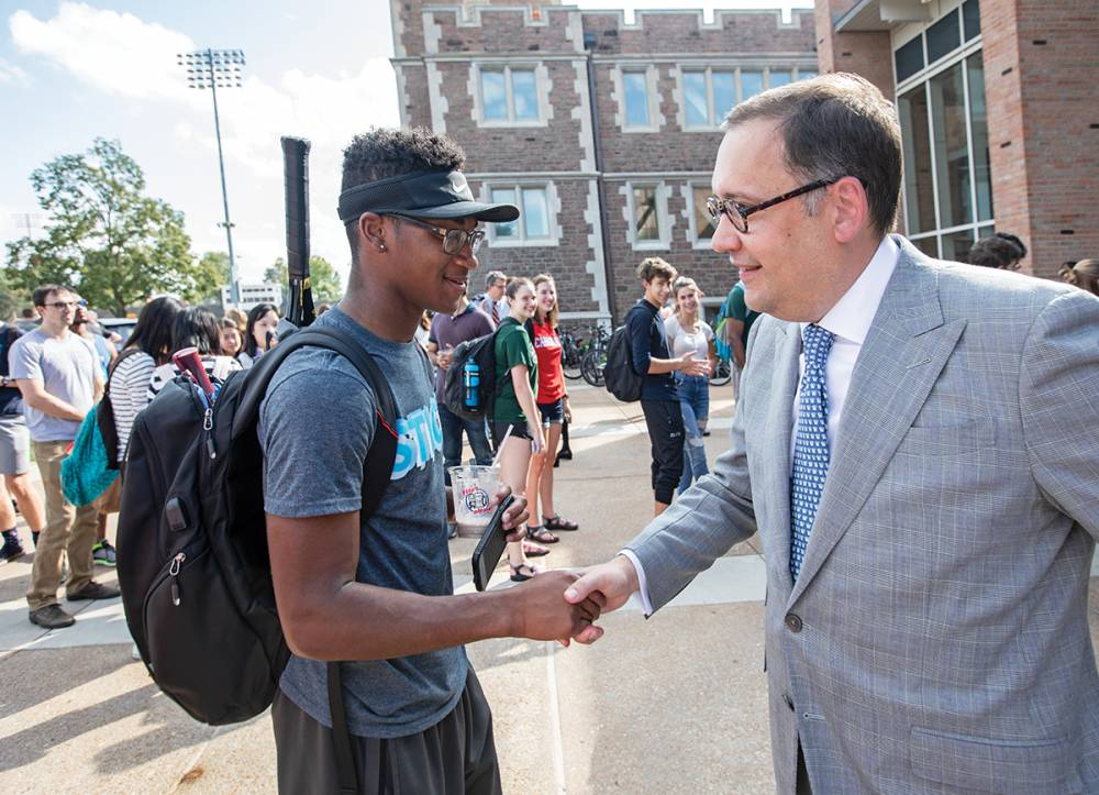 "On Sept. 25, 2018, students got the chance to visit with Martin. One of Martin's top priorities is a commitment to diversity and to excellence, which he says go ""hand in hand."" (Photo: Joe Angeles)"