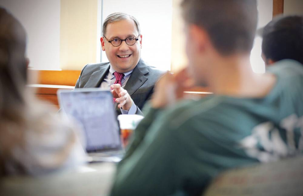 On April 10, then-Chancellor-elect Martin visited a graduate course on higher education administration, where he introduced himself and then answered student questions on timely university topics. (Photo: James Byard)