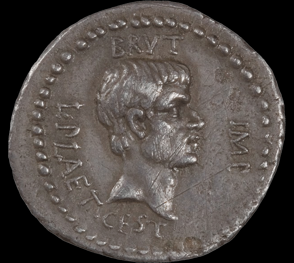 Coin with head in profile