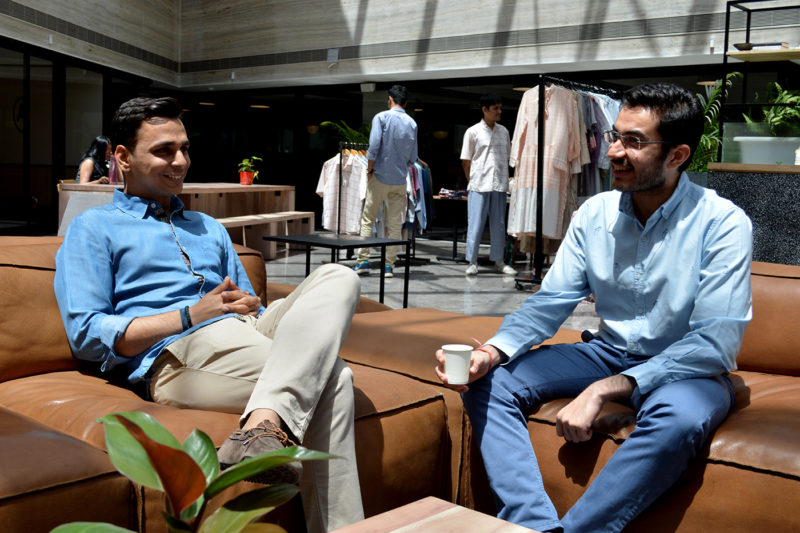 Northeastern graduates Aashray Thatai and Ashish Gurnani co-founded PostFold, a company that designs and sells high-quality casual clothing for work. Courtesy photo.