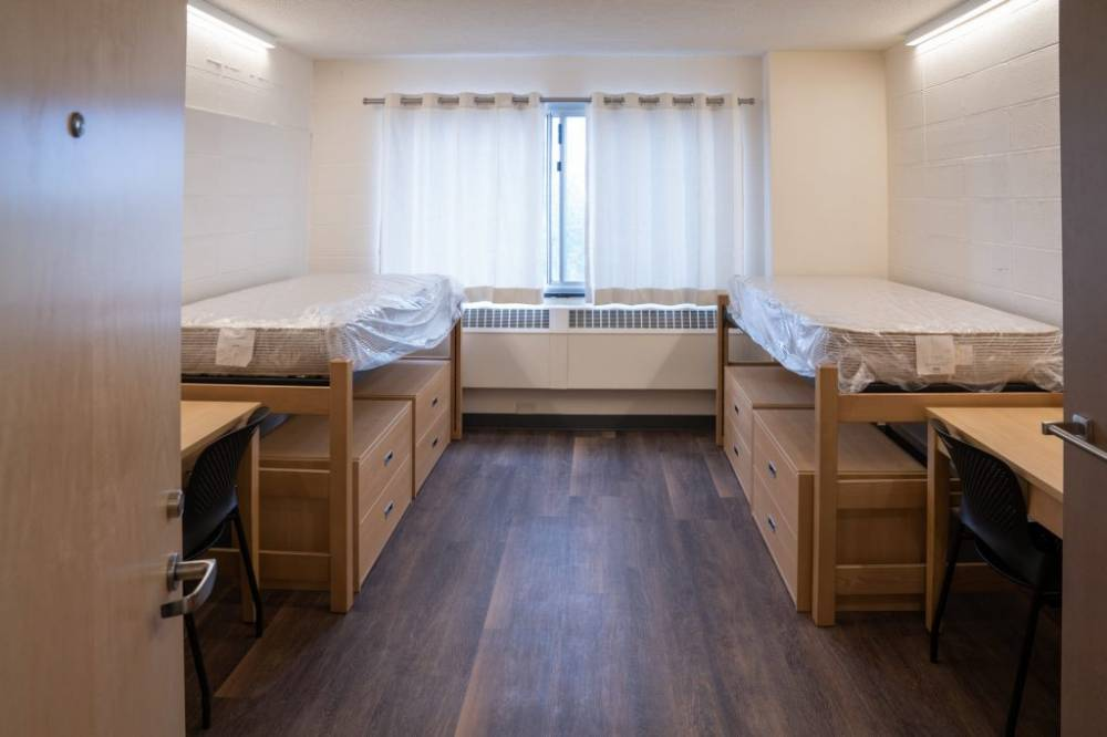 bedroom in residence hall