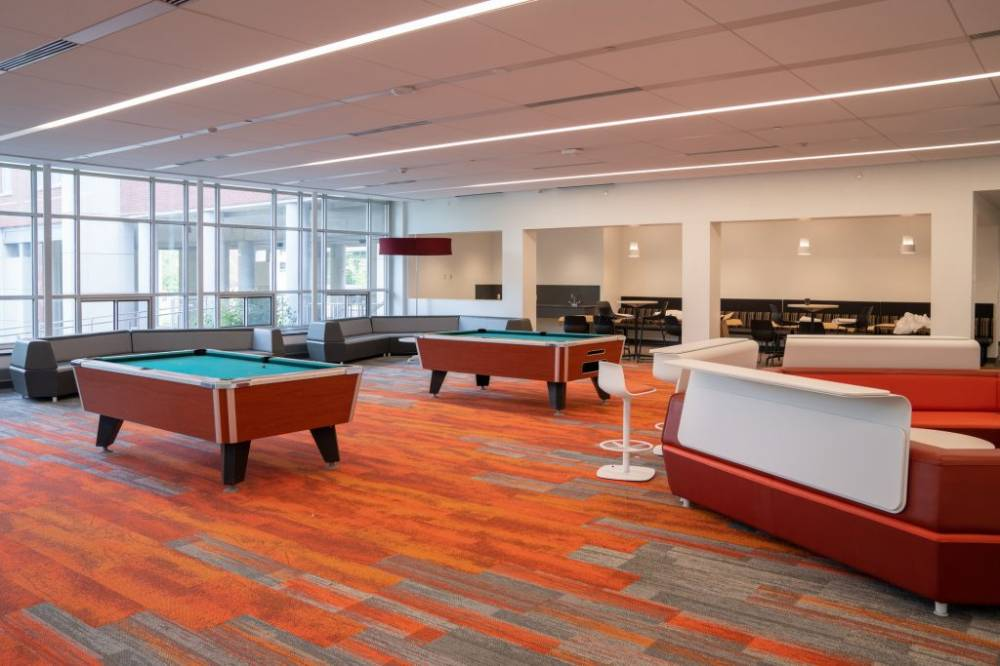 pool tables in open room