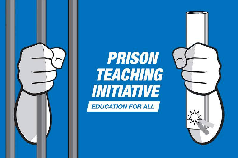 """Graphic of 2 hands, one clutching bars of a jail cell, the other clutching a diploma, and text that reads, """"Prison Teaching Initiative: Education for All"""""""