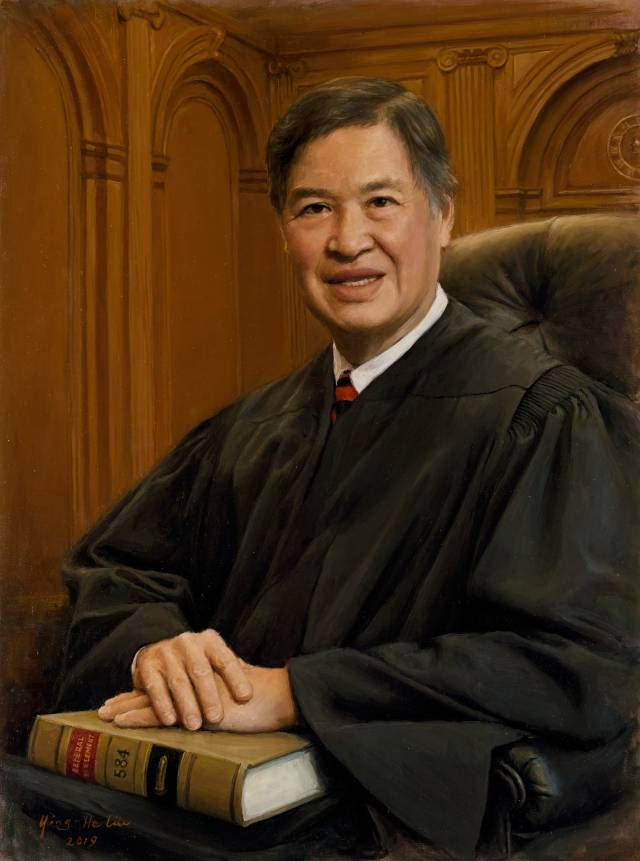 Painting of Denny Chin in judge's robes