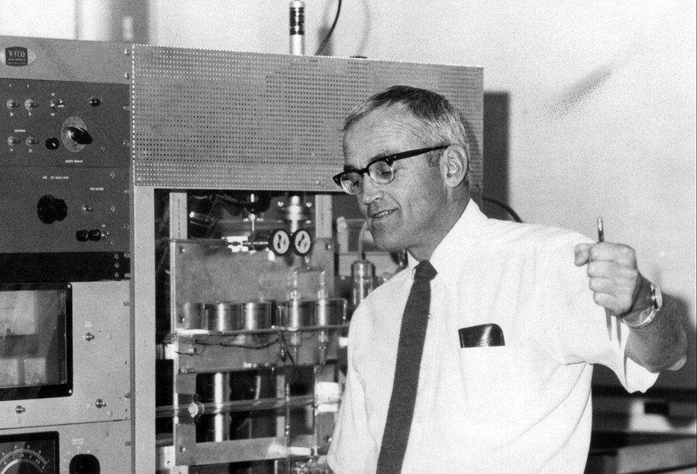 Clair Patterson and analytical equipment.