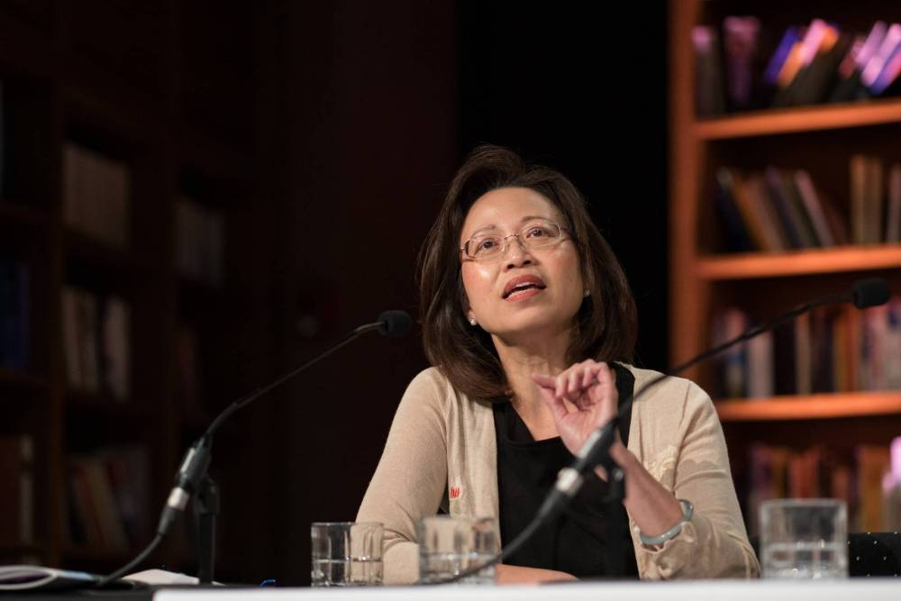 Anne Cheng speaks as part of a panel of faculty