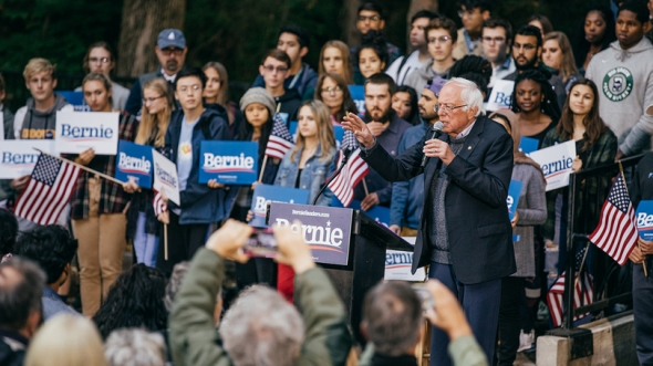 Images of Sen. Bernie Sanders (I-Vt.) speaking to Dartmouth students during a campaign rally among the pines at the Bema.