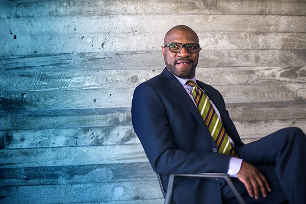 05/30/18 - BOSTON, MA. - New Law School Dean, James Hackney poses for a portrait in the ISEC building on May 30, 2018.  Photo by Matthew Modoono/Northeastern University